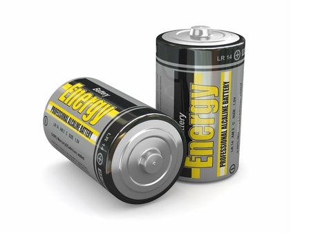 Energy batteries on white backround  Three-dimensional image  3d Stock Photo - 15777629