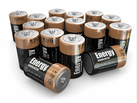 Energy batteries on white backround  Three-dimensional image  3d Stock Photo - 15777635