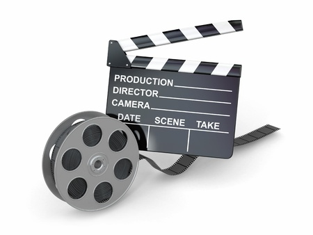 3d image: Movie industry  Clapperboard and film reel  3d Stock Photo