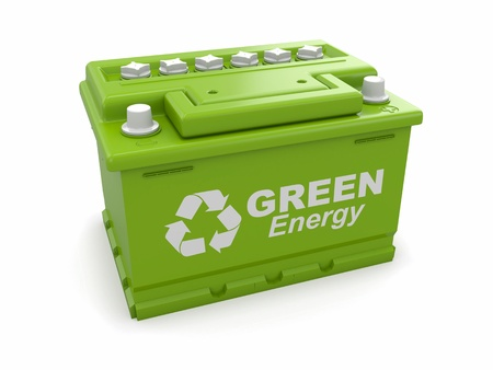 Car battery with green recycle sign  3d photo