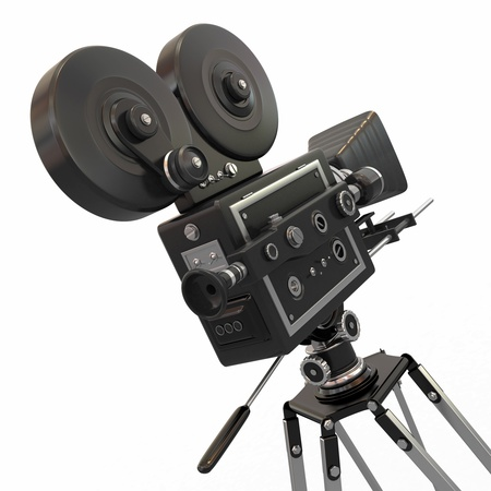 35mm film motion picture camera: Vintage movie camera on white background  3d Stock Photo