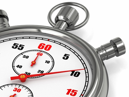 minute: Analog stopwatch on white isolated background  3d Stock Photo