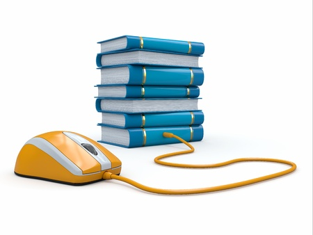 Internet education  Books and computer mouse  3d Stock Photo - 15886528