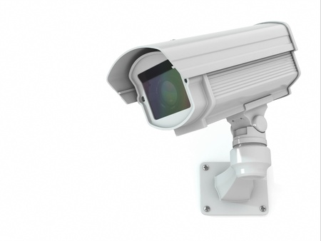 video surveillance: CCTV security camera on white background  3d Stock Photo