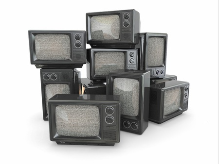 Heap of vintage tv  End of television  Conceptual image  3d photo