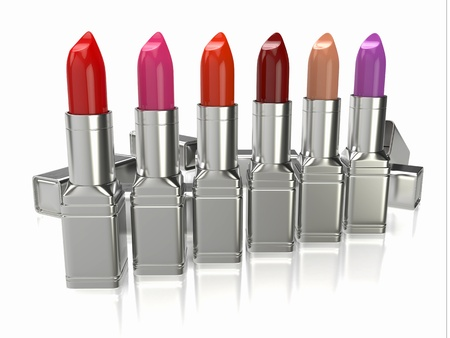 Row of lipsticks on white background  Three-dimensional image  photo