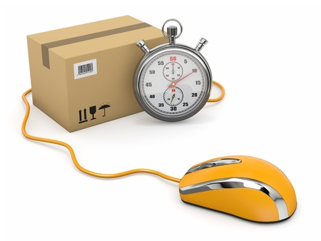 rapidity: Online express delivery  Mouse, stopwatch and package  3d