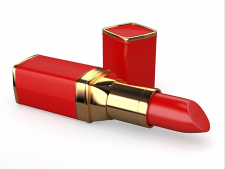 Red lipstick on white background  Three-dimensional image  photo