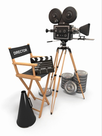 3d film: Movie composition  Vintage camera, director chair and reels  3d Stock Photo