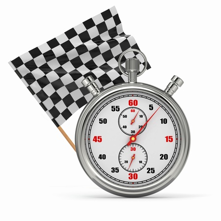 rally car: Stopwatch with checkered flag  Start or finish  3d