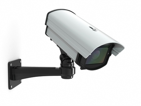 CCTV security camera on white background  3d Stock Photo - 16030619