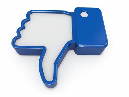 pollice in gi: Dislike Thumb down segno su sfondo bianco 3d Archivio Fotografico