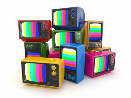 old fashioned tv: Heap of vintage tv  End of television  Conceptual image  3d