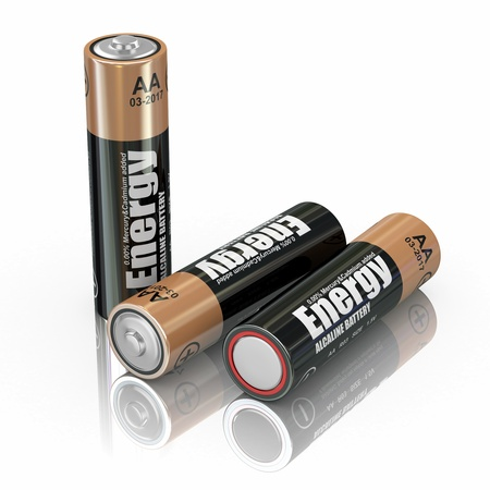 alkaline: Energy batteries on white backround  Three-dimensional image  3d