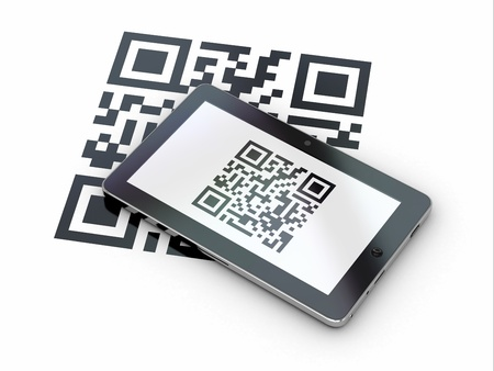 qr: Tablet pc scanning qr code on white background  3d Stock Photo