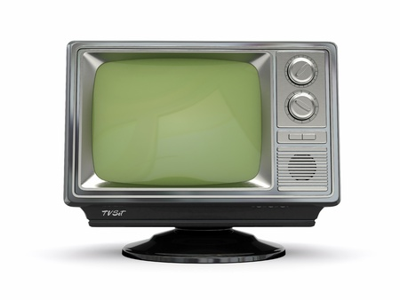 old fashioned tv: Vintage retro tv on white background  3d