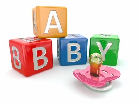 abc blocks: Baby from alphabetical blocks and dummy  3d