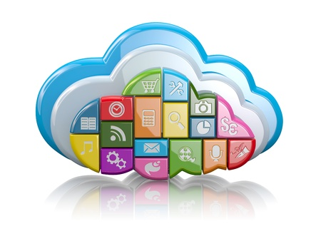 telecommunication equipment: Cloud computing  Clouds as application icons on white background  3d Stock Photo