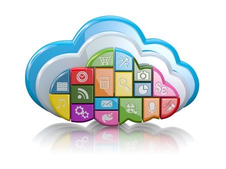 ic�ne logiciel: Nuages ??de cloud computing sous forme d'ic�nes d'application sur fond blanc 3d