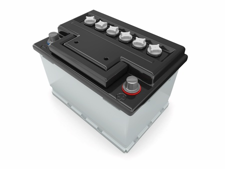 12v: Bater�a de coche sobre fondo blanco Imagen tridimensional