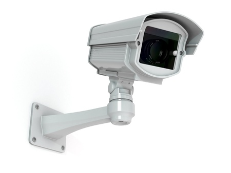 cctv security: CCTV security camera on white background  3d Stock Photo
