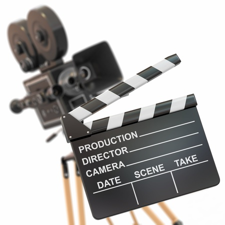cinematographer: Movie composition  Vintage camera and clapperboard  3d