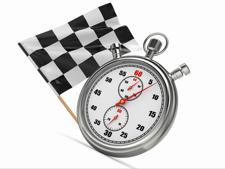 Stopwatch with checkered flag  Start or finish  3d photo