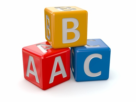 blue 3d blocks: Alphabet  ABC blocks cube on white background  3d Stock Photo
