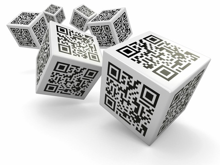 Lottery  Qr code cubes as dice  3d photo