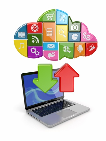 Cloud computing  Laptop and icons software  3d Stock Photo - 16181374