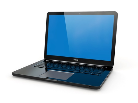 Black laptop on white background  Three-dimensional image  Stock Photo