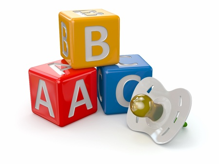 soother: ABC blocks cube and baby