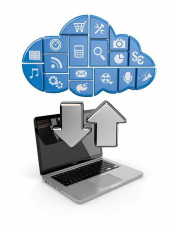 Cloud computing  Laptop and icons software  3d photo