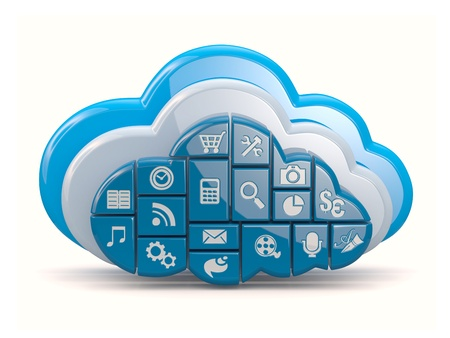 download cloud: Cloud computing  Clouds as application icons on white background  3d Stock Photo