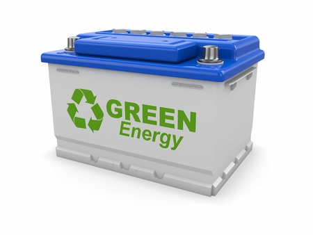 Car battery with green recycle sign  3d Stock Photo - 16306953