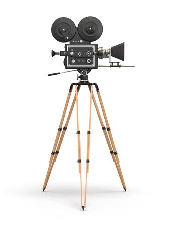 Cámara de película de la vendimia en 3d fondo blanco