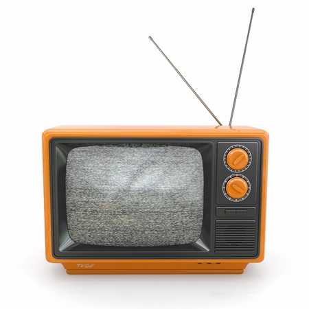 old fashioned tv: Vintage tv with noise screen on white background  3d Stock Photo