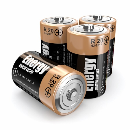capacitance: Energy batteries on white backround  Three-dimensional image  3d