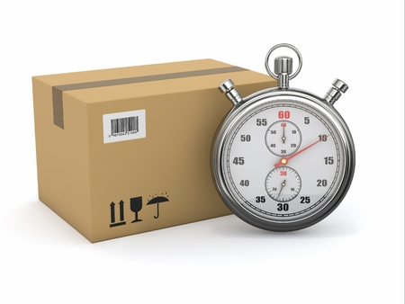 rapidity: Express delivery  Stopwatch and package on white background  3d