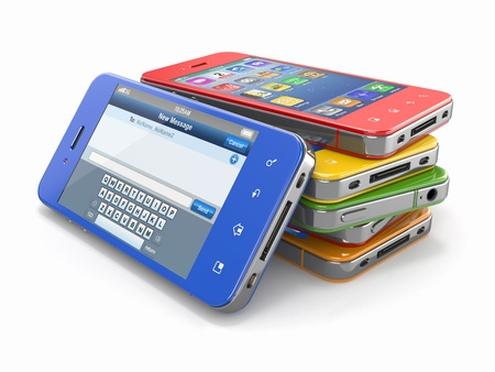 gprs: Set of mobile phones with touchscreen  3d Stock Photo