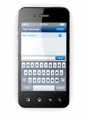 with space for text: Mobile phone with sms menu screen  Space for text  3d