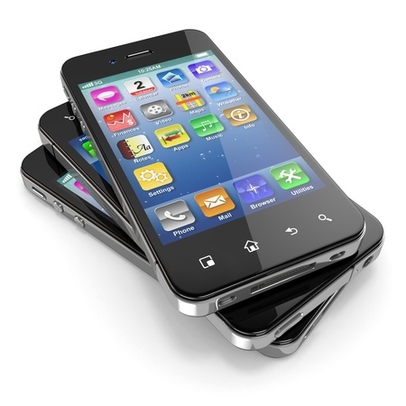 Set of mobile phones with touchscreen  3d photo