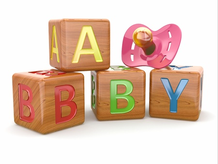 soother: Baby from alphabetical blocks and dummy  3dBaby from alphabetical blocks and dummy Stock Photo