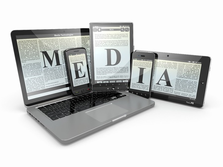 personal digital assistant: Media  Laptop, phone and tablet pc  Electronic devices  3d Stock Photo