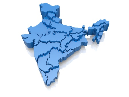 india 3d: Three-dimensional map of India on white background  3d