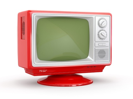 television set: Red vintage retro tv on white background  3d
