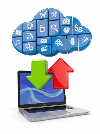 three dimensional accessibility: Cloud computing  Laptop and icons software  3d Stock Photo