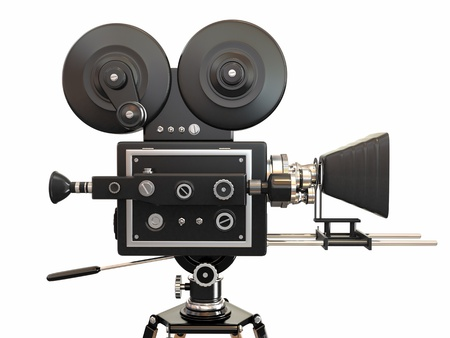 hollywood movie: Vintage movie camera on white background  3d Stock Photo