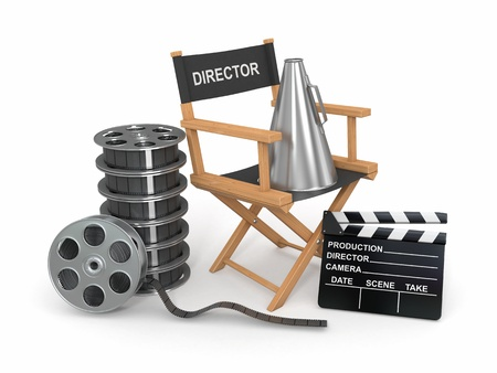 isolated chair: Movie industry  Producer chair, ñlapperboard and film reel  3d