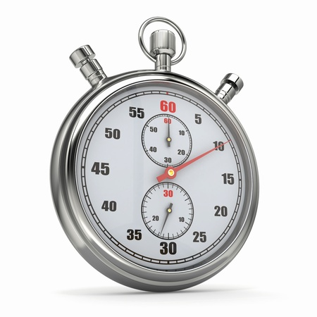 Analog stopwatch on white isolated background  3d photo